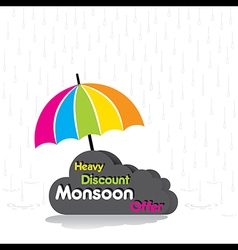 Heavy discount monsoon offer poster design vector