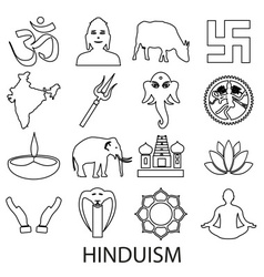 Hinduism religions symbols set outline icons vector