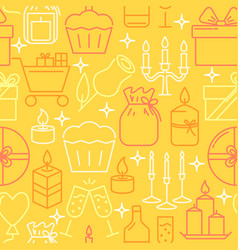holiday objects seamless pattern in line style vector image