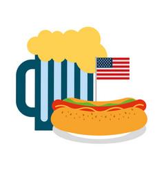 Hot dog and beer flag american food celebration vector