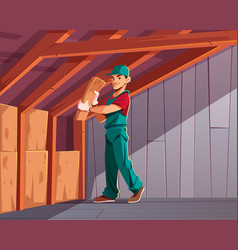 House thermal insulation works cartoon vector
