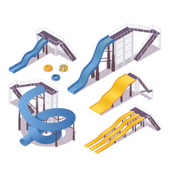 Isometric water slides with stairs and shadows 3d vector