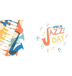jazz day card of colorful music band instruments vector image