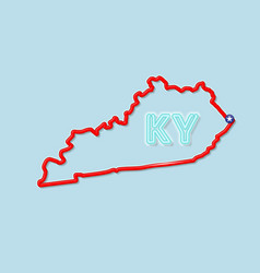 Kentucky us state bold outline map vector