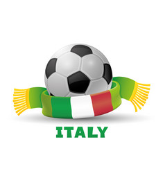 Leather soccer ball and green scarf vector
