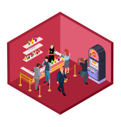 night club bar with game zone isometric vector image