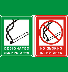 No smoking and smoking area sign set vector