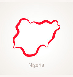 Outline map of nigeria marked with red line vector