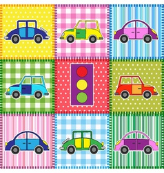 Patchwork with cartoon cars vector