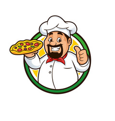 pizza chef mascot design vector image