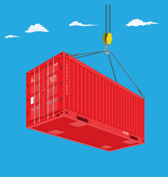 port crane lifts red container perspective view vector image