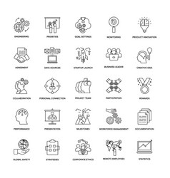 Project management line icons vector