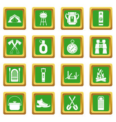 Recreation tourism icons set green vector