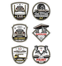 Retro icons for car auto service vector