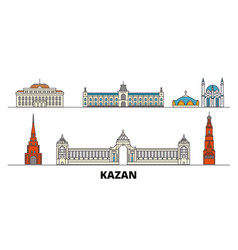 Russia kazan flat landmarks vector