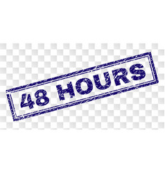 Scratched 48 hours rectangle stamp vector