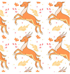 Seamless pattern with cute antelope vector