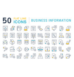 Set line icons business information vector