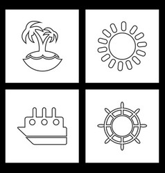 Set sea icons vector