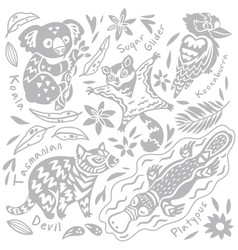Set with decorated australian animals and bird vector