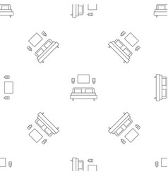 sleeping room bed pattern seamless vector image