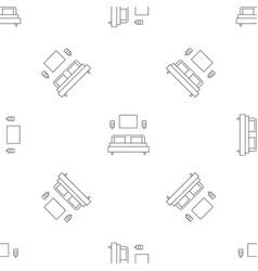 sleeping room bed pattern seamless vector image