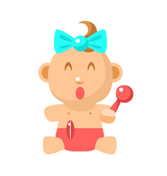 Small happy baby girl sitting with toy shaker in vector