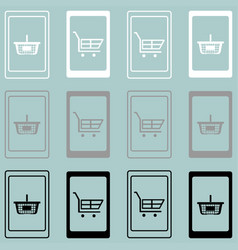 smartphone with basket and hand cart vector image