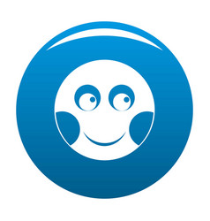 Smile icon blue vector