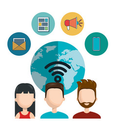 social network globe character social network vector image