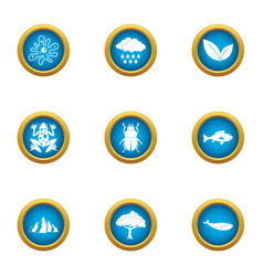 swamp icons set flat style vector image