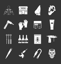 Tattoo parlor icons set grey vector