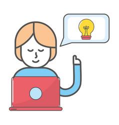 technology woman cartoon vector image