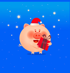 the year of the pig cute smiling little pig vector image