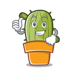 Thumbs up cute cactus character cartoon vector