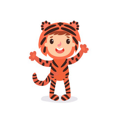 Toddler kid in colorful tiger costume child in vector