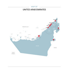 united arab emirates map with red pin vector image