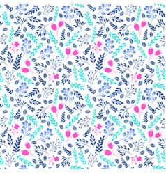 Vibrant color floral seamless pattern with flowers vector