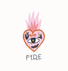 vintage burning heart in vector image