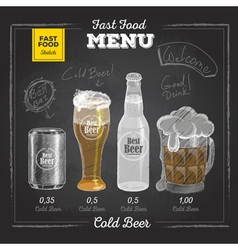 Vintage chalk drawing fast food menu Cold beer vector image