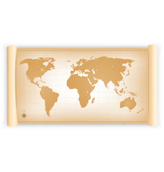 Vintage world map on parchment scroll vector