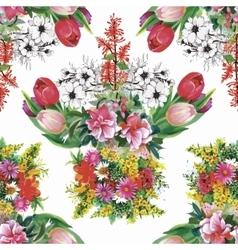 Watercolor of Tulips flowers vector