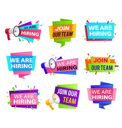 we are hiring labels join our team vector image