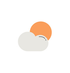 Weather flat icon sun with cloud modern sign vector