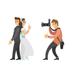 wedding photo session of newlyweds by photographer vector image