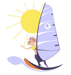 Windsurfing woman vector