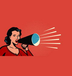 Woman with loudspeaker female announcing discount vector