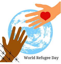 world refugee day the hand behind the barbed wire vector image