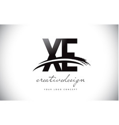 Xe x e letter logo design with swoosh and black vector
