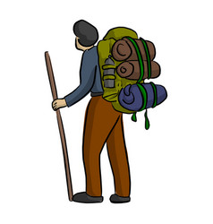 young man traveling with backpack vector image